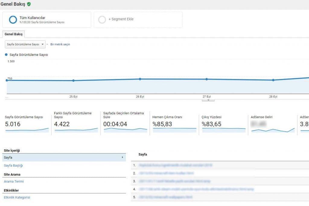 hemen çıkma oranı google analytics