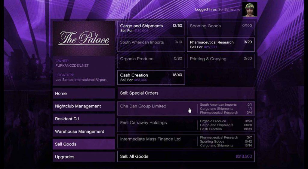 gta online nightclub menu