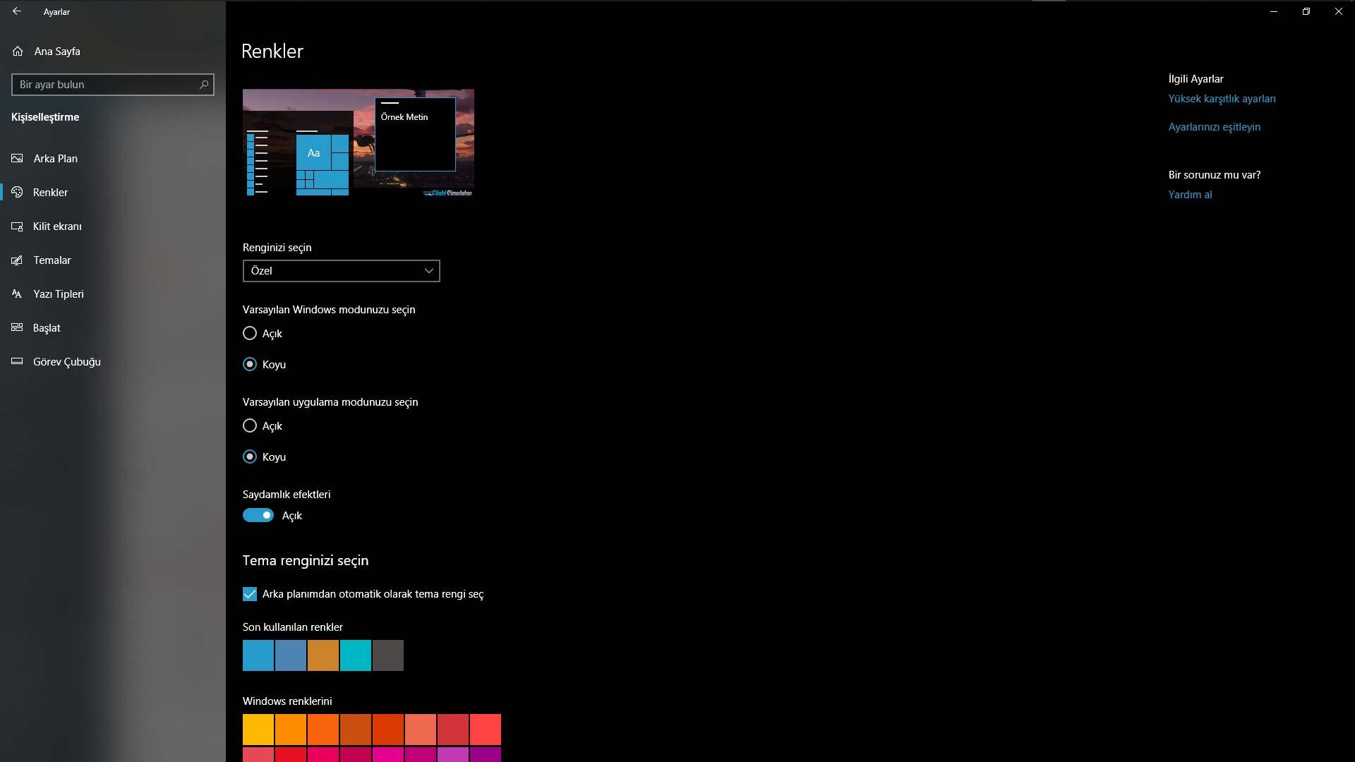 windows karanlık mod etkinleştirme